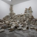 """""""An Introduction to the Aleph's Library"""" installation at Mohsen Gallery, 1000 cured books"""