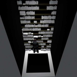 3D modeling for Aleph's library Square pit on the floor: 260.260cm Pit's depth: Around 400cm The narrow Space between walls and the edge of pit: 30cm