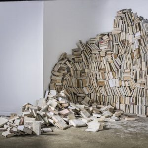 """""""An Introduction to the Aleph's Library"""" installation at TMOCA, 1000 cured books"""
