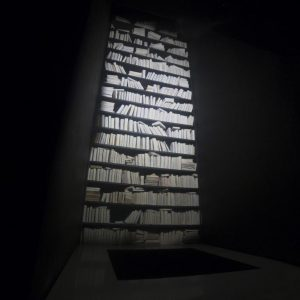 installation view, 1000 cured books, iron, wood, overall size: 250 x 250 x 900 cm, pit's depth: Around 400cm
