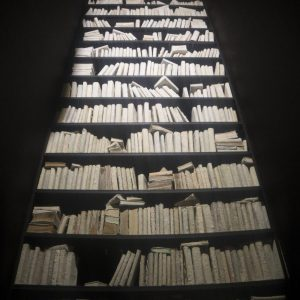 installation view, 1000 cured books, iron, wood, overall size: 250 x 250 x 900 cm, 2017