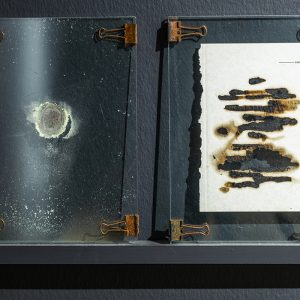 """""""page164"""" Metal clips, glass, pages of books exposed to sulfur gas, sulfur ash, 29 x 21 cm each"""